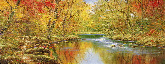 Terry Evans, Original oil painting on canvas, Autumn Wood No frame image. Click to enlarge