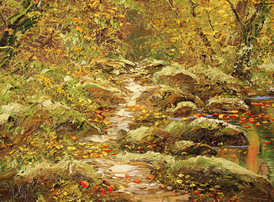 Terry Evans, Original oil painting on canvas, Autumn Wood Signature image. Click to enlarge