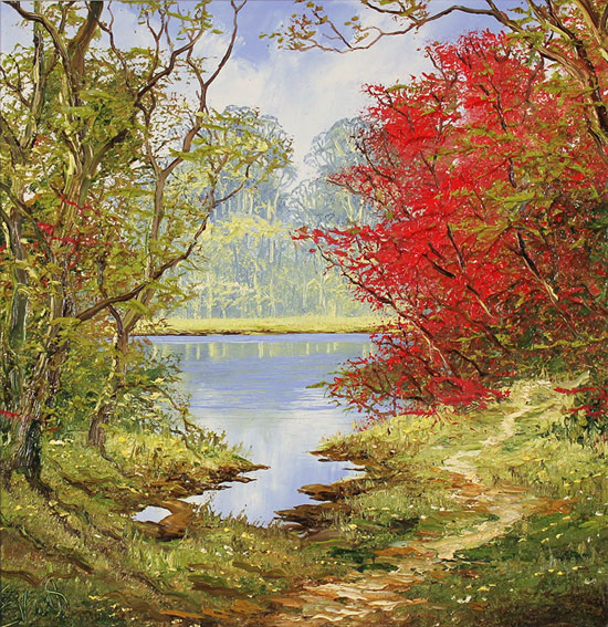 Terry Evans, Original oil painting on canvas, Early Autumn Wood No frame image. Click to enlarge