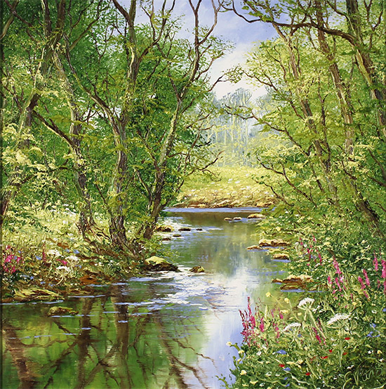 Terry Evans, Original oil painting on panel, Quiet of the Wood No frame image. Click to enlarge