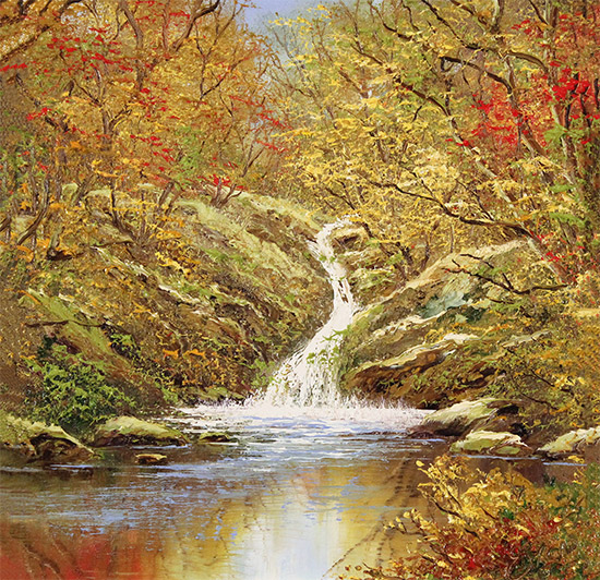 Terry Evans, Original oil painting on canvas, Autumn Falls No frame image. Click to enlarge