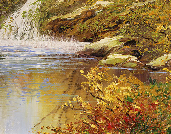 Terry Evans, Original oil painting on canvas, Autumn Falls Signature image. Click to enlarge