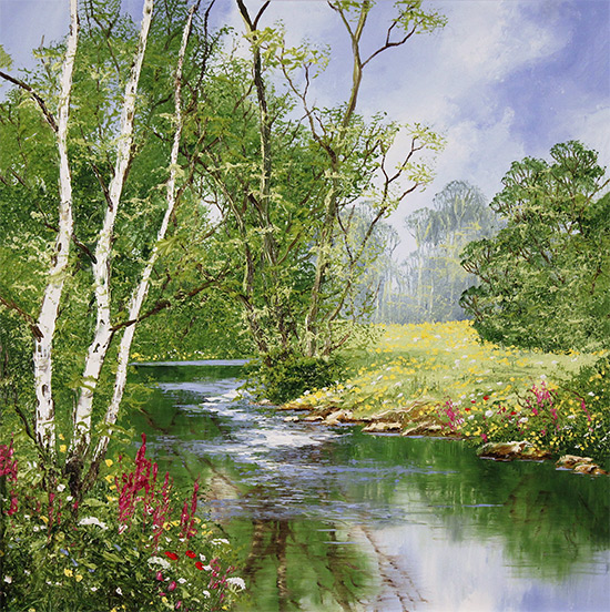 Terry Evans, Original oil painting on panel, Willdflower Walk, North Yorkshire No frame image. Click to enlarge