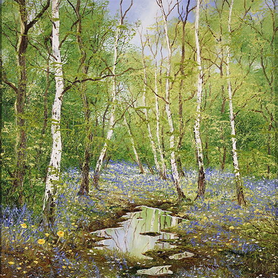 Terry Evans, Original oil painting on canvas, The Bluebell Wood No frame image. Click to enlarge
