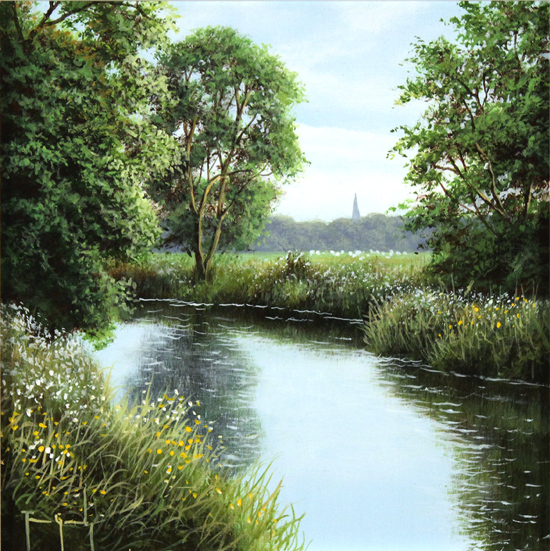 Terry Grundy, Original oil painting on panel, River Wharfe, North Yorkshire No frame image. Click to enlarge