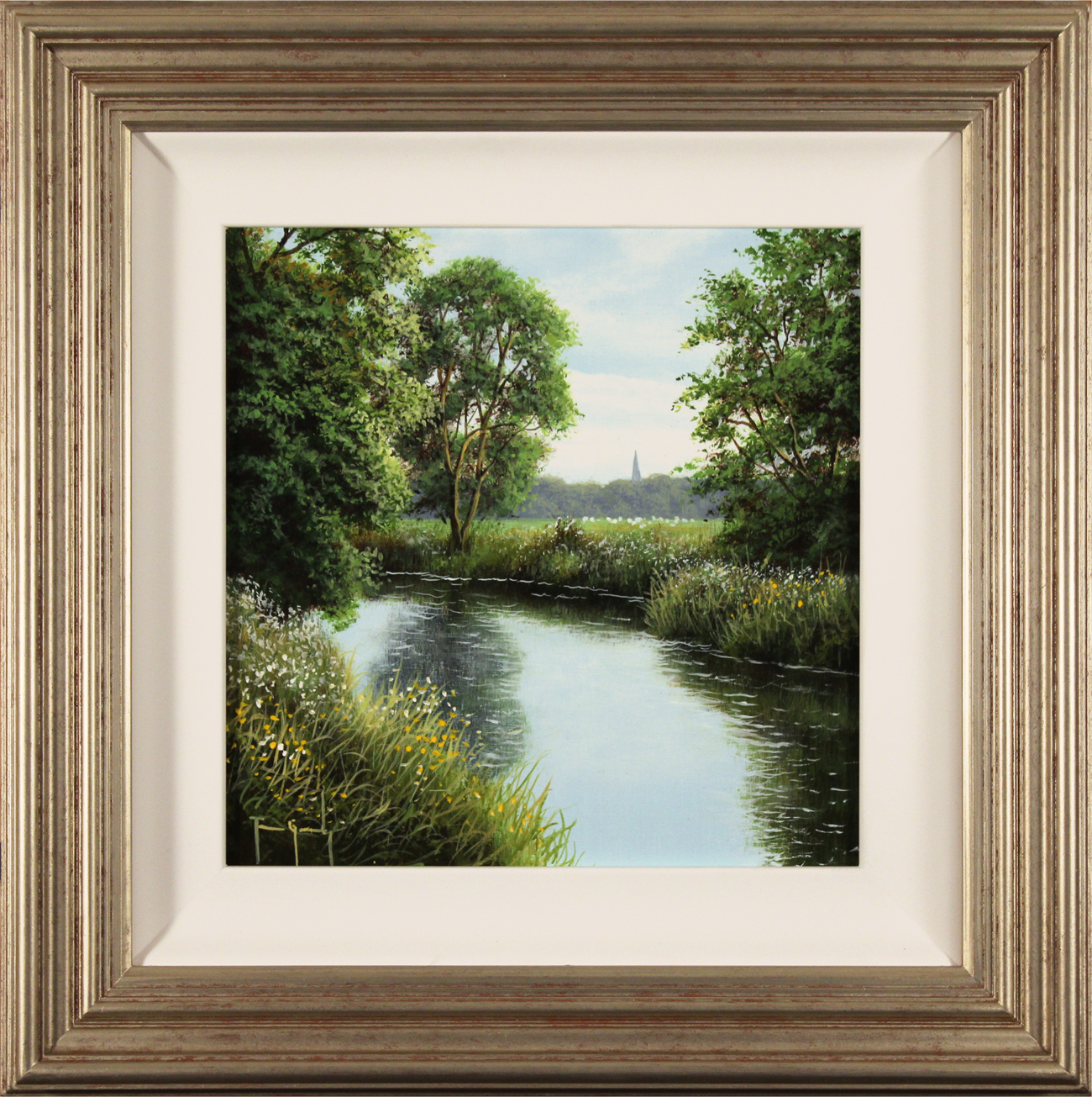Terry Grundy, Original oil painting on panel, River Wharfe, North Yorkshire Click to enlarge