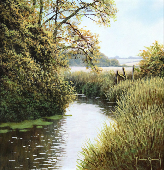 Terry Grundy, Original oil painting on panel, Summer's End No frame image. Click to enlarge