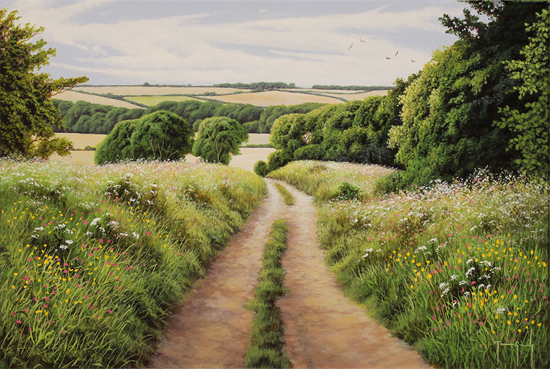 Terry Grundy, Original oil painting on panel, Summer in the Yorkshire Wolds No frame image. Click to enlarge