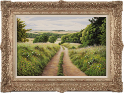 Terry Grundy, Original oil painting on panel, Summer in the Yorkshire Wolds Medium image. Click to enlarge