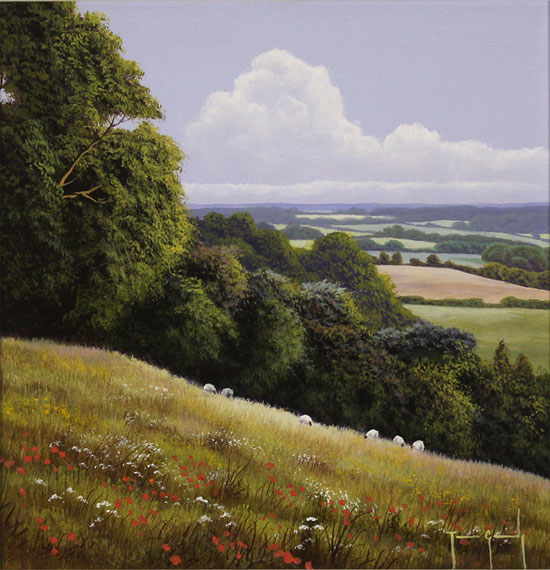 Terry Grundy, Original oil painting on panel, Summer Pastures No frame image. Click to enlarge