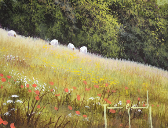 Terry Grundy, Original oil painting on panel, Summer Pastures Signature image. Click to enlarge