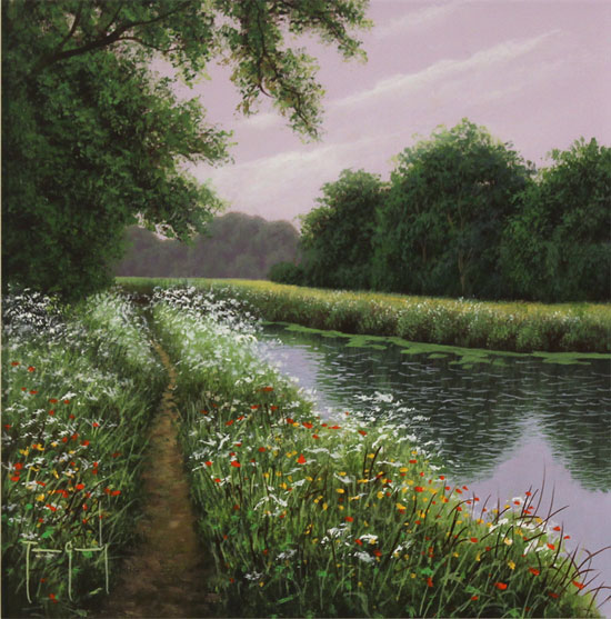 Terry Grundy, Original oil painting on panel, Riverside Walk