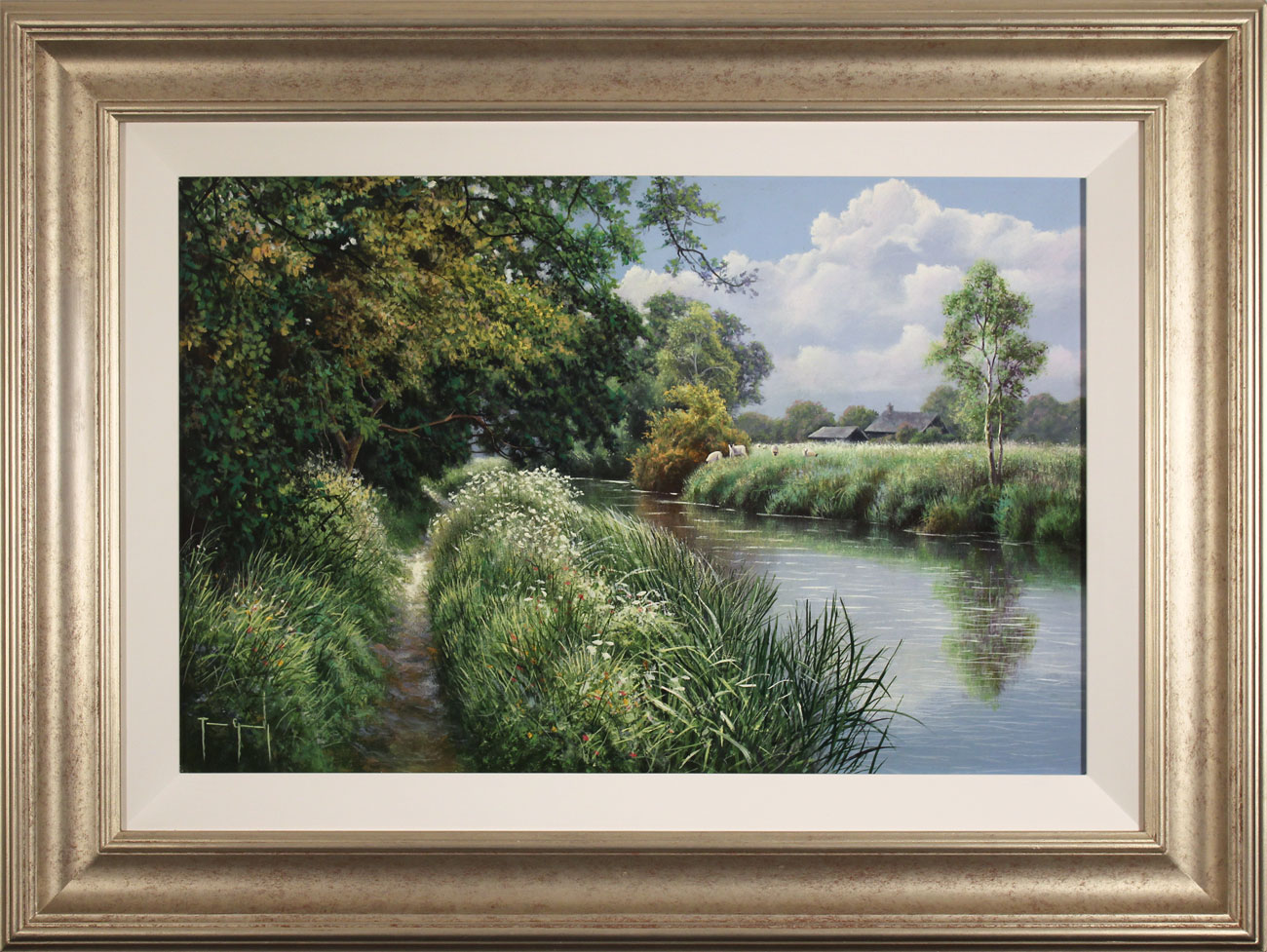 Terry Grundy, Original oil painting on panel, Riverbank Farm Click to enlarge