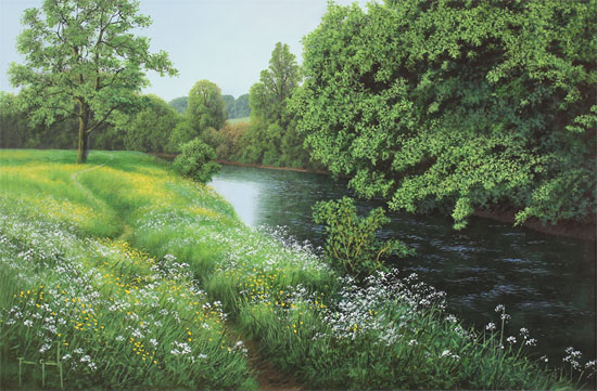Terry Grundy, Original oil painting on panel, Midsummer by the River No frame image. Click to enlarge