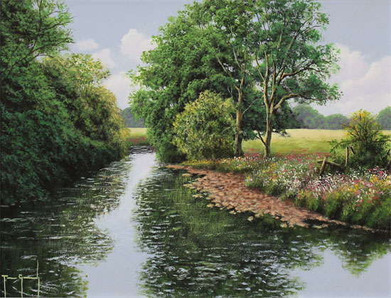 Terry Grundy, Original oil painting on panel, Midsummer Tranquillity No frame image. Click to enlarge