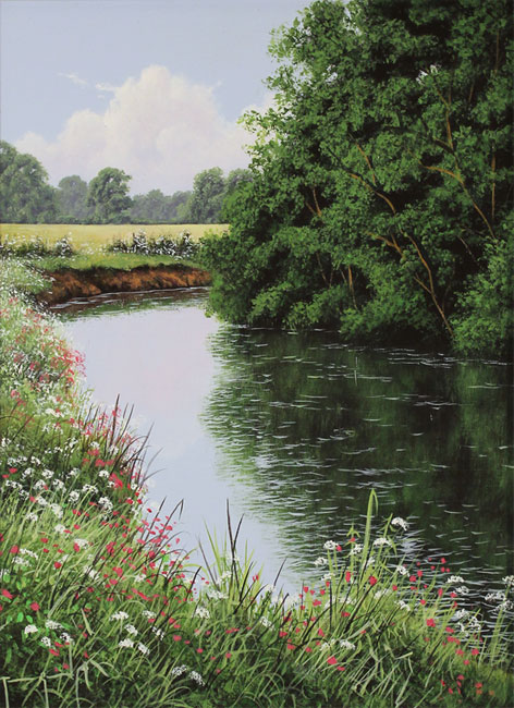Terry Grundy, Original oil painting on panel, The River Eden No frame image. Click to enlarge