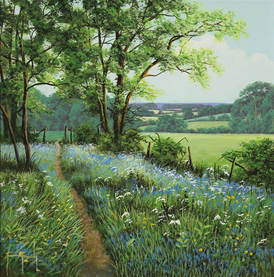 Terry Grundy, Original oil painting on panel, Bluebell Walk No frame image. Click to enlarge