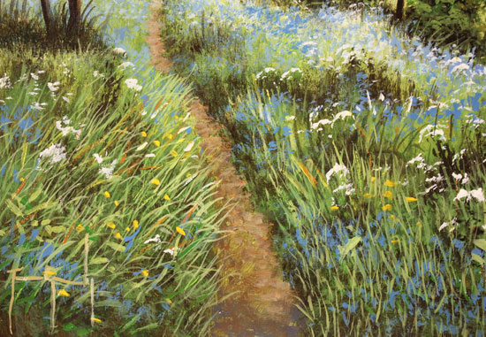 Terry Grundy, Original oil painting on panel, Bluebell Walk Signature image. Click to enlarge