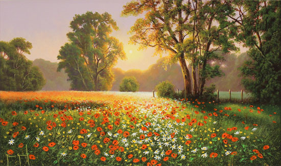 Terry Grundy, Original oil painting on panel, Poppy Field at Sunset No frame image. Click to enlarge