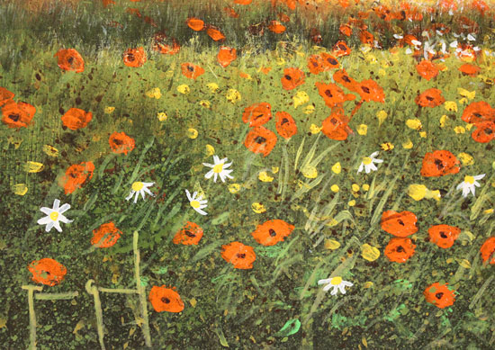 Terry Grundy, Original oil painting on panel, Poppy Field at Sunset Signature image. Click to enlarge