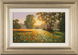 Terry Grundy, Original oil painting on panel, Poppy Field at Sunset