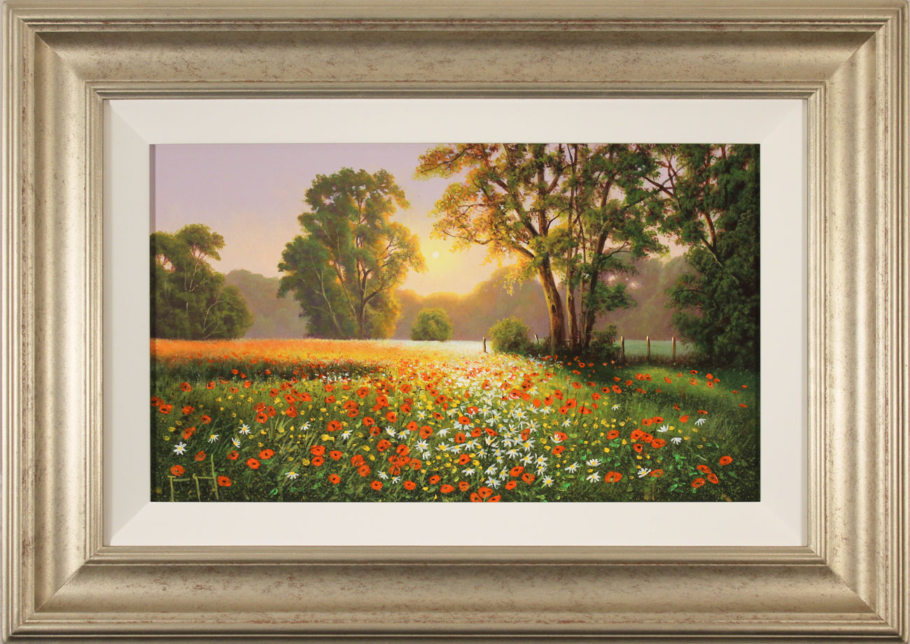 Terry Grundy, Original oil painting on panel, Poppy Field at Sunset Click to enlarge
