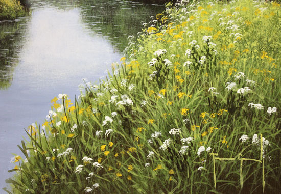 Terry Grundy, Original oil painting on panel, The River Wharfe Signature image. Click to enlarge