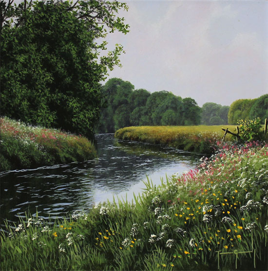 Terry Grundy, Original oil painting on panel, High Summer No frame image. Click to enlarge
