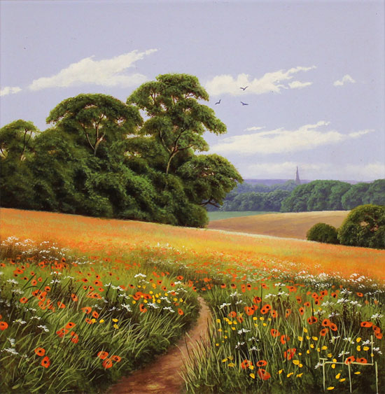 Terry Grundy, Original oil painting on panel, Poppy Fields No frame image. Click to enlarge