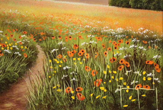 Terry Grundy, Original oil painting on panel, Poppy Fields Signature image. Click to enlarge