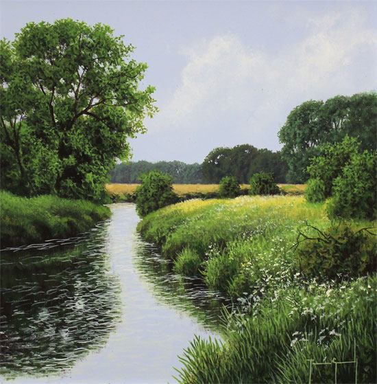 Terry Grundy, Original oil painting on panel, The River Wharfe No frame image. Click to enlarge