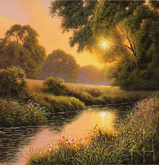 Terry Grundy, Original oil painting on panel, Summer Sunset No frame image. Click to enlarge