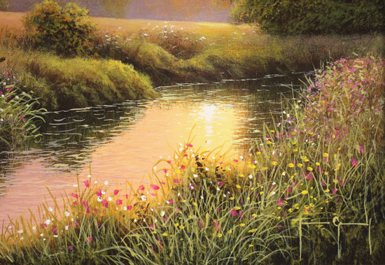 Terry Grundy, Original oil painting on panel, Summer Sunset Signature image. Click to enlarge