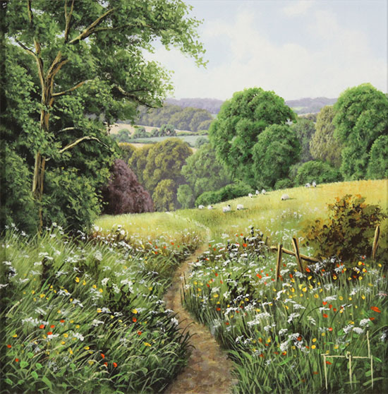 Terry Grundy, Original oil painting on panel, Passage of Meadowsweet  No frame image. Click to enlarge
