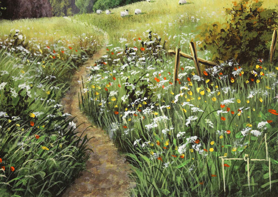 Terry Grundy, Original oil painting on panel, Passage of Meadowsweet  Signature image. Click to enlarge
