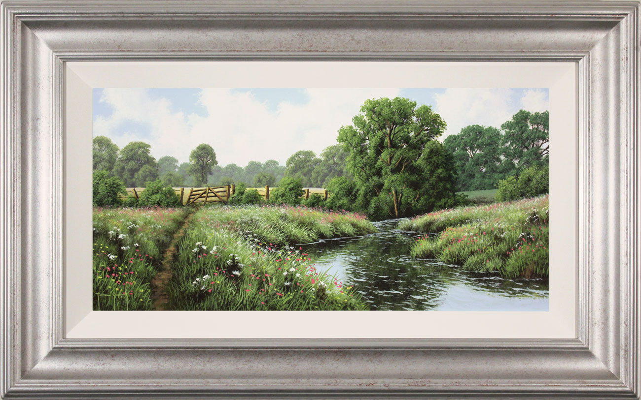 Terry Grundy, Original oil painting on panel, Midsummer by the River Click to enlarge