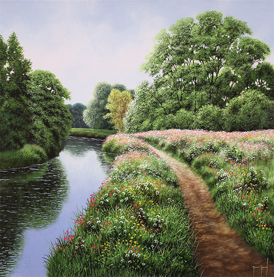Terry Grundy, Original oil painting on panel, Tranquil Midsummer, Yorkshire Wolds No frame image. Click to enlarge