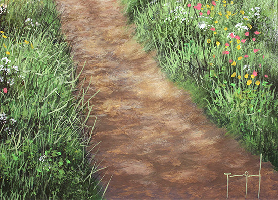 Terry Grundy, Original oil painting on panel, Tranquil Midsummer, Yorkshire Wolds Signature image. Click to enlarge