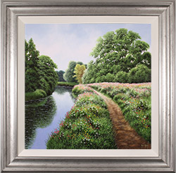 Terry Grundy, Original oil painting on panel, Tranquil Midsummer, Yorkshire Wolds Medium image. Click to enlarge