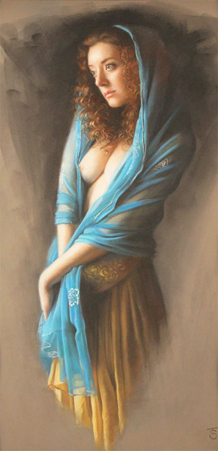 Tina Spratt, Pastel, Blue Shawl No frame image. Click to enlarge
