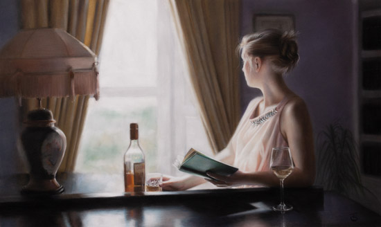 Tina Spratt, Pastel, Distant Gaze No frame image. Click to enlarge
