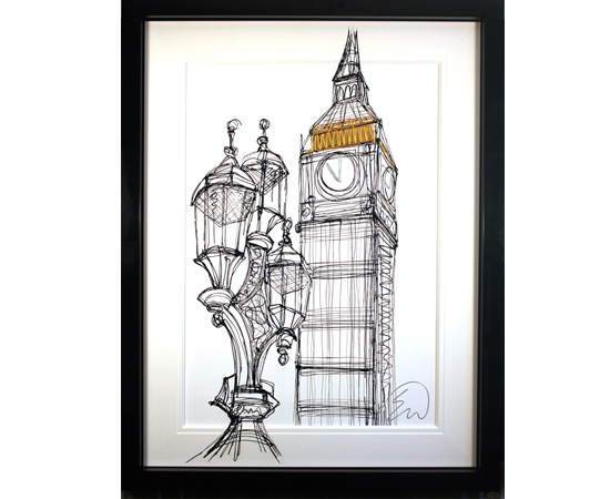 Edward Waite, Big Ben, Original acrylic painting on canvas