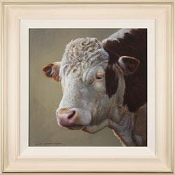Wayne Westwood, Original oil painting on panel, Hereford Bull Medium image. Click to enlarge