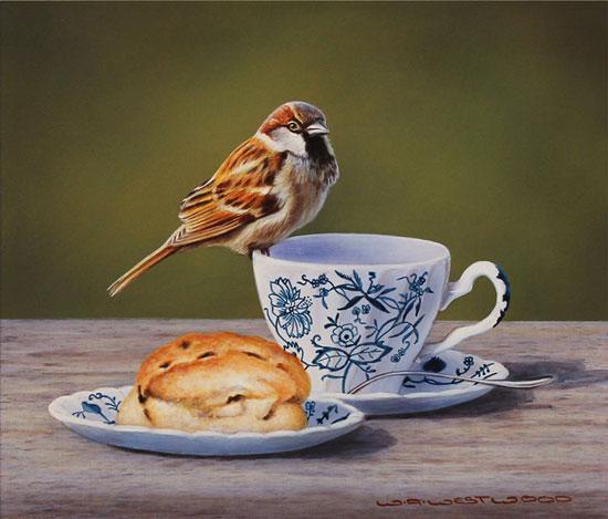 Wayne Westwood, Original oil painting on panel, Afternoon Tea No frame image. Click to enlarge