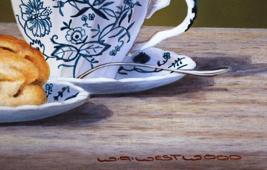 Wayne Westwood, Original oil painting on panel, Afternoon Tea Signature image. Click to enlarge