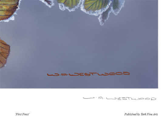 Wayne Westwood, Signed limited edition print, First Frost Signature image. Click to enlarge