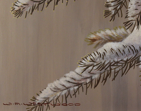 Wayne Westwood, Original oil painting on panel, Forest Frost, Redpoll in Winter  Signature image. Click to enlarge