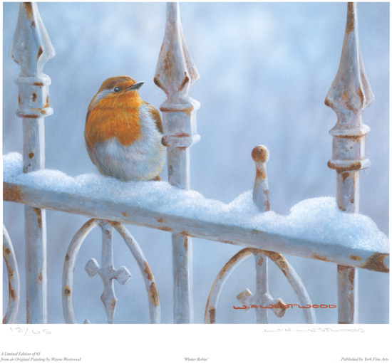 Wayne Westwood, Signed limited edition print, Winter Robin