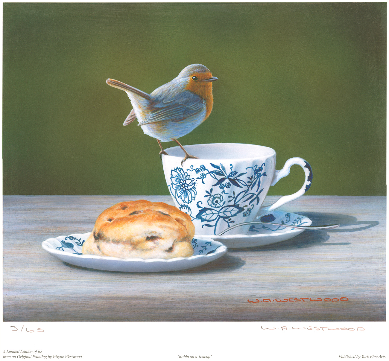 Wayne Westwood, Signed limited edition print, Robin on a Teacup Click to enlarge