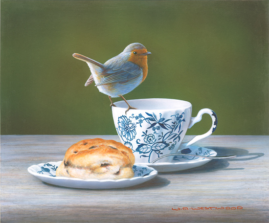 Wayne Westwood, Signed limited edition print, Robin on a Teacup